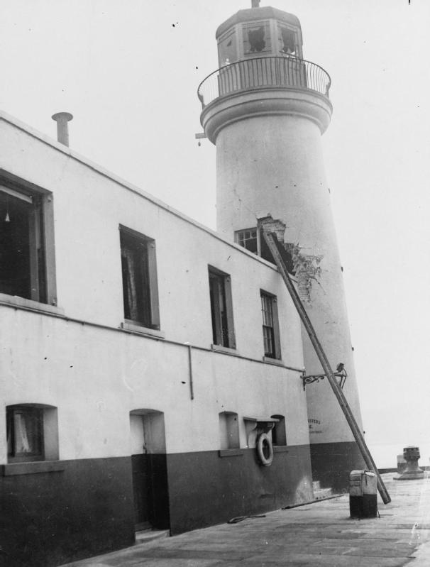 Damage to the lighthouse on Vincent's Pier, Scarborough, caused by shells from the German battlecruisers SMS Derfflinger and SMS Von Der Tann when the town was bombarded on the morning of 16 December 1914... During the bombardment by Hipper's battlecruisers the lighthouse was hit twice, one in the tower and once in the harbourmaster's quarters. The damage to the lighthouse tower was considered so severe that the structure was considered unsafe and was demolished three days after the bombardment. Reconstruction of the tower was undertaken in 1931.